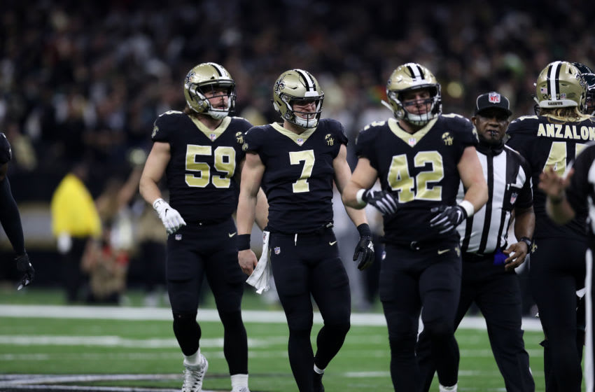 NEW ORLEANS, LOUISIANA - JANUARY 13: Taysom Hill #7 of the New Orleans Saints reacts after a fake punt during the NFC Divisional Playoff at the Mercedes Benz Superdome on January 13, 2019 in New Orleans, Louisiana. (Photo by Chris Graythen/Getty Images)