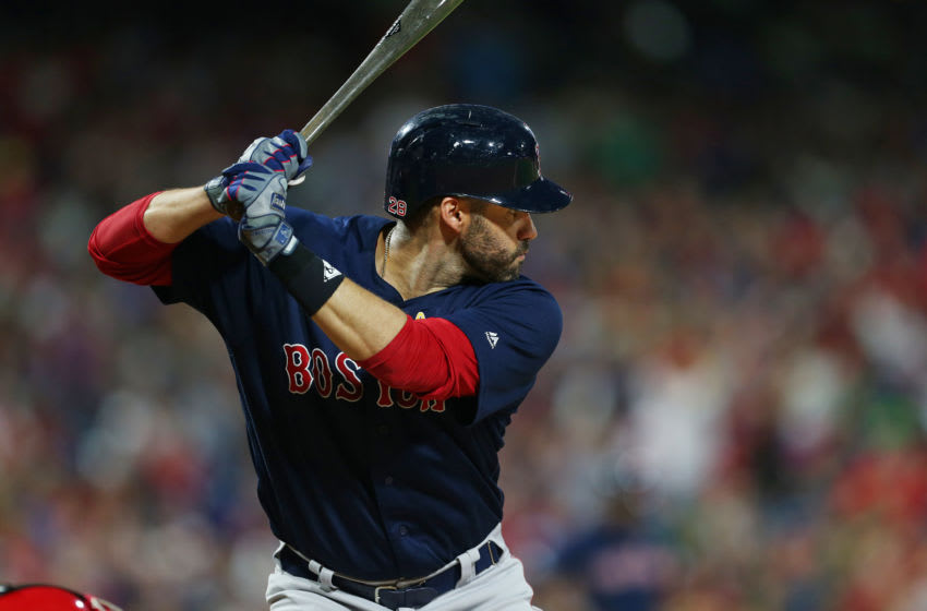 PHILADELPHIA, PA - SEPTEMBER 14: J.D. Martinez #28 of the Boston Red Sox in action against the Philadelphia Phillies during a game at Citizens Bank Park on September 14, 2019 in Philadelphia, Pennsylvania. (Photo by Rich Schultz/Getty Images)