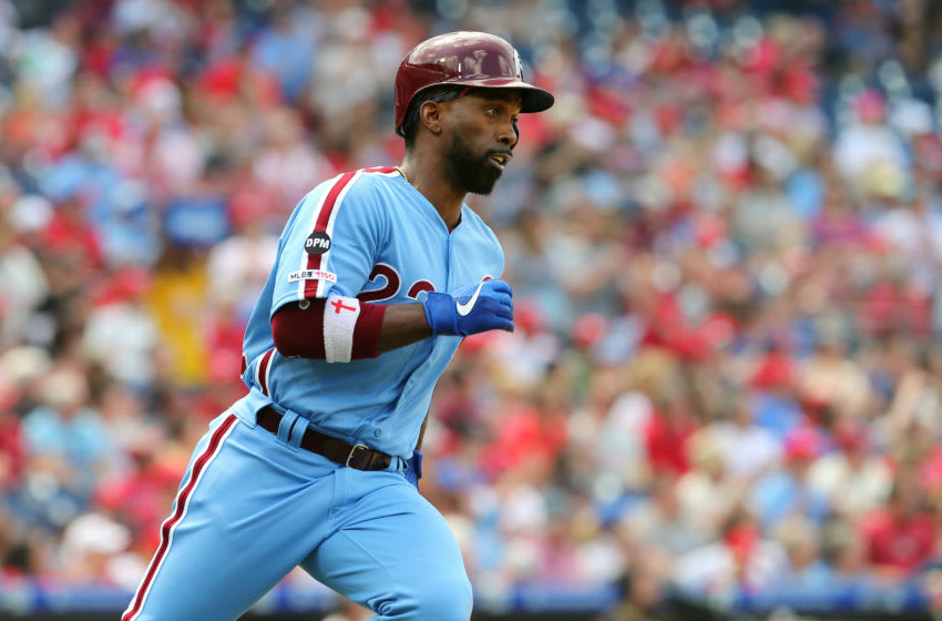 PHILADELPHIA, PA - MAY 16: Andrew McCutchen #22 of the Philadelphia Phillies in action during a game against the Milwaukee Brewers at Citizens Bank Park on May 16, 2019 in Philadelphia, Pennsylvania. The Brewers defeated the Phillies 11-3. (Photo by Rich Schultz/Getty Images)