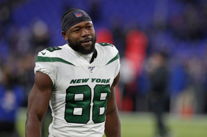 BALTIMORE, MARYLAND - DECEMBER 12: Running back Ty Montgomery #88 of the New York Jets stands on the field prior to the game against the Baltimore Ravens at M&T Bank Stadium on December 12, 2019 in Baltimore, Maryland. (Photo by Todd Olszewski/Getty Images)