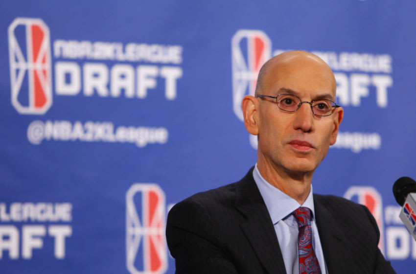 NEW YORK, NY - APRIL 04: NBA Commissioner Adam Silver speaks to the media prior to the start of the NBA 2K League Draft at Madison Square Garden on April 4, 2018 in New York City. (Photo by Mike Stobe/Getty Images)