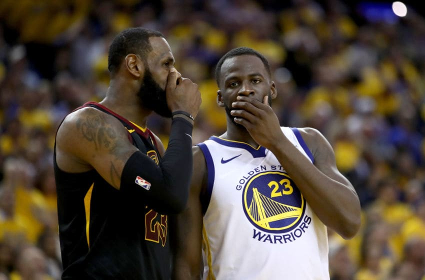 LeBron James, #23, Cleveland Cavaliers, Draymond Green, #23, Golden State Warriors, (Photo by Ezra Shaw/Getty Images)