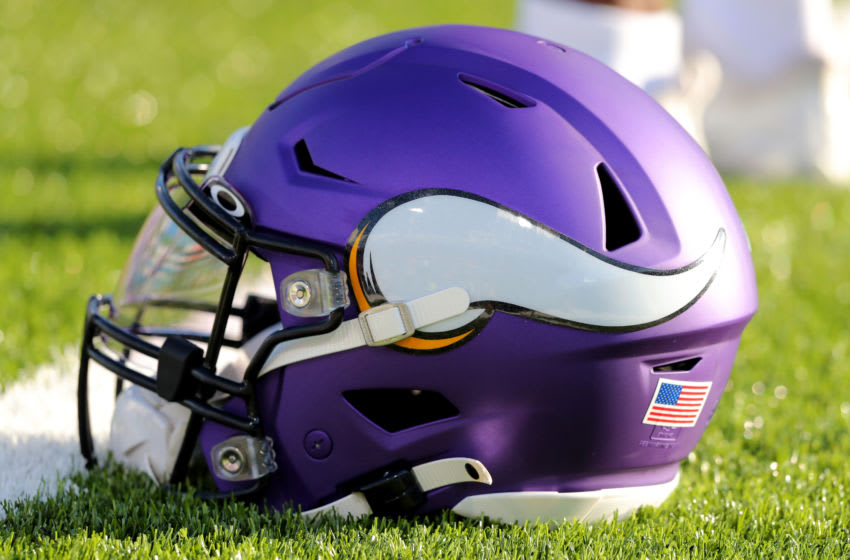 A general view of a Minnesota Vikings helmet. (Photo by Timothy T Ludwig/Getty Images)