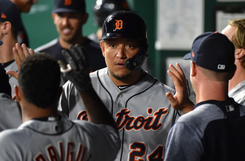 KANSAS CITY, MISSOURI - SEPTEMBER 04: Miguel Cabrera #24 of the Detroit Tigers celebrates with teammates after hitting a RBI single in the eighth inning against the Kansas City Royals at Kauffman Stadium on September 04, 2019 in Kansas City, Missouri. (Photo by Ed Zurga/Getty Images)