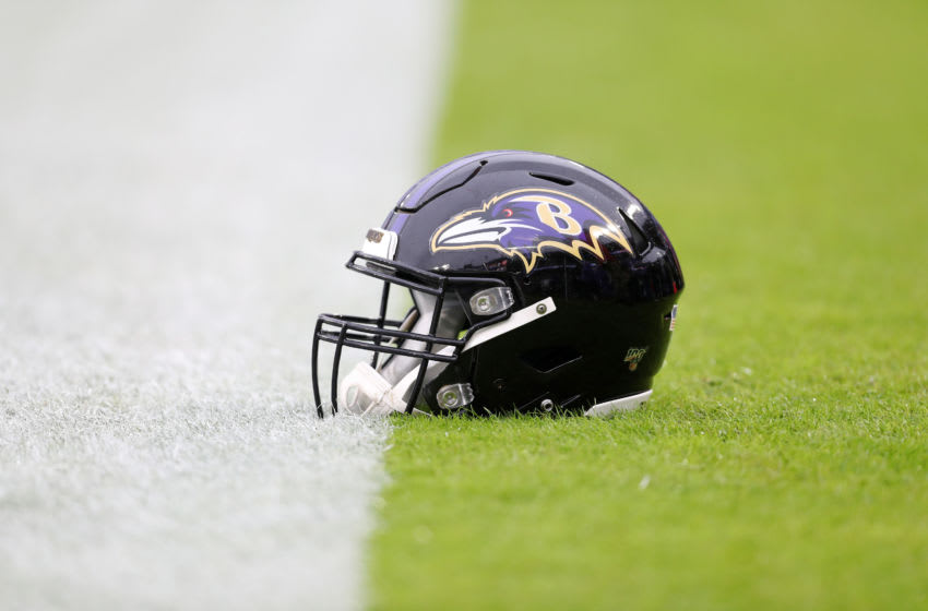 BALTIMORE, MARYLAND - DECEMBER 01: A detail of a Baltimore Ravens helmet before the game between the San Francisco 49ers and the Baltimore Ravens at M&T Bank Stadium on December 01, 2019 in Baltimore, Maryland. (Photo by Patrick Smith/Getty Images)