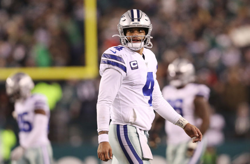 PHILADELPHIA, PENNSYLVANIA - DECEMBER 22: Dak Prescott #4 of the Dallas Cowboys reacts during the second half against the Philadelphia Eagles in the game at Lincoln Financial Field on December 22, 2019 in Philadelphia, Pennsylvania. (Photo by Patrick Smith/Getty Images)