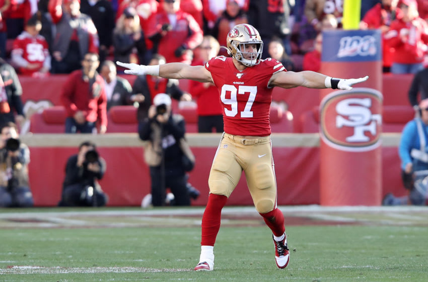 SANTA CLARA, CALIFORNIA - JANUARY 11: Nick Bosa #97 of the San Francisco 49ers reacts to a broken up pass play during the third quarter against the Minnesota Vikings during the NFC Divisional Round Playoff game at Levi's Stadium on January 11, 2020 in Santa Clara, California. (Photo by Sean M. Haffey/Getty Images)