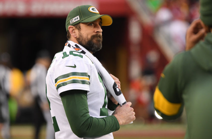 SANTA CLARA, CALIFORNIA - JANUARY 19: Aaron Rodgers #12 of the Green Bay Packers looks on from the sidelines in the first half against the San Francisco 49ers during the NFC Championship game at Levi's Stadium on January 19, 2020 in Santa Clara, California. (Photo by Harry How/Getty Images)