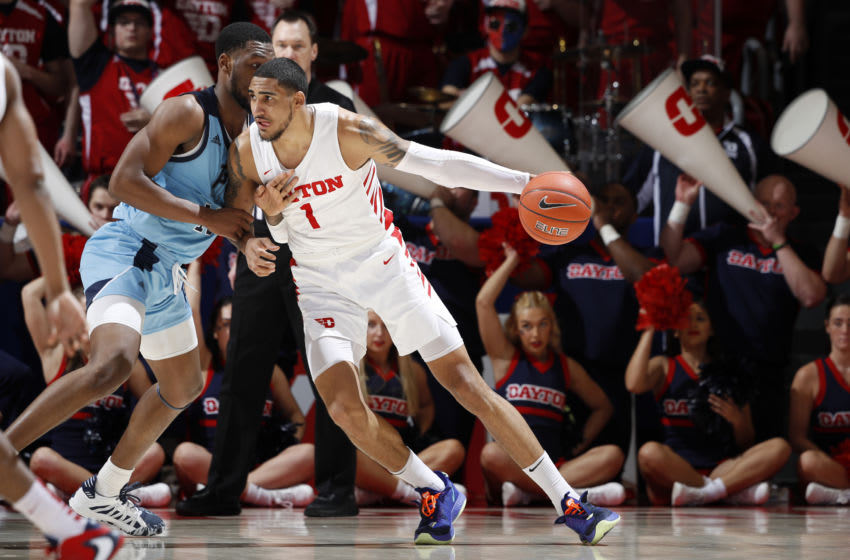 DAYTON, OH - FEBRUARY 11: Obi Toppin #1 of the Dayton Flyers handles the ball during a game against the Rhode Island Rams at UD Arena on February 11, 2020 in Dayton, Ohio. Dayton defeated Rhode Island 81-67. (Photo by Joe Robbins/Getty Images)