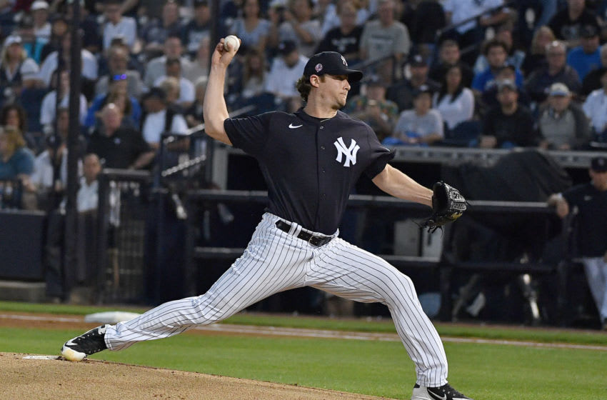 TAMPA, FLORIDA - FEBRUARY 24: Gerrit Cole #45 of the New York Yankees delivers a pitch in the first inning during the spring training game against the Pittsburgh Pirates at Steinbrenner Field on February 24, 2020 in Tampa, Florida. (Photo by Mark Brown/Getty Images)