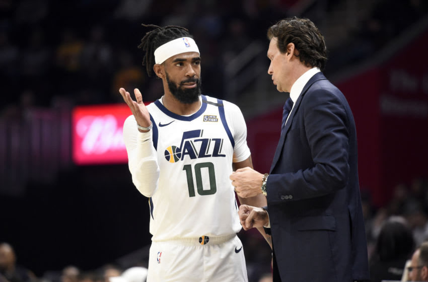 CLEVELAND, OHIO - MARCH 02: Mike Conley #10 talks with Head coach Quin Snyder of the Utah Jazz during the second half against the Cleveland Cavaliers at Rocket Mortgage Fieldhouse on March 02, 2020 in Cleveland, Ohio. The Jazz defeated the Cavaliers 126-113. NOTE TO USER: User expressly acknowledges and agrees that, by downloading and/or using this photograph, user is consenting to the terms and conditions of the Getty Images License Agreement. (Photo by Jason Miller/Getty Images)