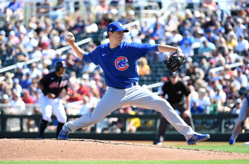 GOODYEAR, ARIZONA - MARCH 07: Kyle Hendricks #28 of the Chicago Cubs delivers a pitch against the Cleveland Indians during a spring training game at Goodyear Ballpark on March 07, 2020 in Goodyear, Arizona. (Photo by Norm Hall/Getty Images)