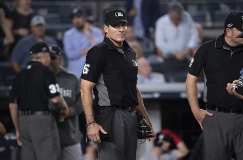 NEW YORK, NY - OCTOBER 09: MLB umpire Angel Hernandez ahead of game four of the MLB American League Divisional Series at Yankees Stadium on October 9 2018 in the Bronx borough of New York City. (Photo by Benjamin Solomon/Getty Images)