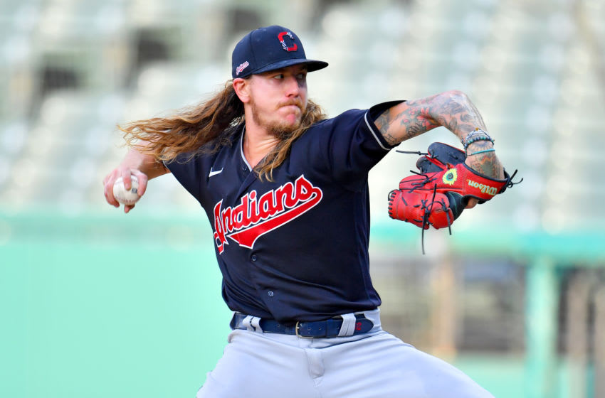 CLEVELAND, OHIO - JULY 15: Mike Clevinger #52 of the Cleveland Indians pitches during the second inning of an intrasquad at Progressive Field on July 15, 2020 in Cleveland, Ohio. (Photo by Jason Miller/Getty Images)