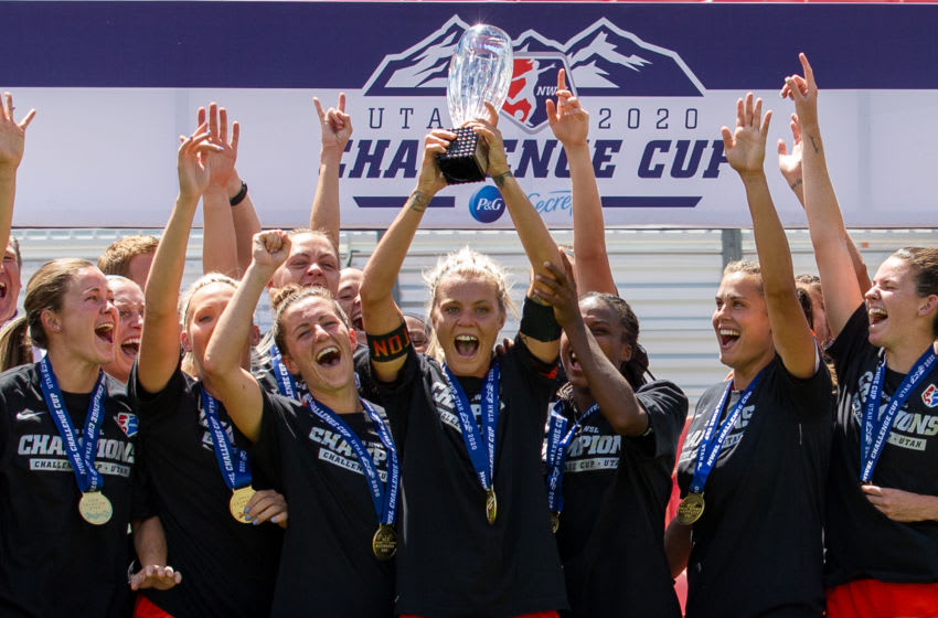 SANDY, UT - JULY 26: Houston Dash react to winning the NWSL Challenge Cup Championship held at Rio Tinto Stadium on July 26, 2020 in Sandy, Utah. (Photo by Rob Gray/ISI Photos/Getty Images).