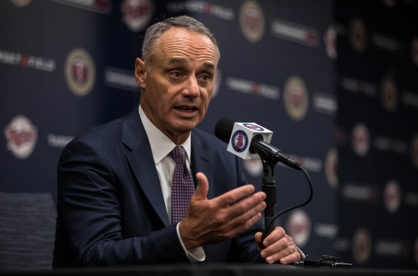 MINNEAPOLIS, MN- MAY 5: MLB commissioner Rob Manfred speaks prior to the game between the Minnesota Twins and Boston Red Sox on May 5, 2017 at Target Field in Minneapolis, Minnesota. The Twins defeated the Red Sox 4-3. (Photo by Brace Hemmelgarn/Minnesota Twins/Getty Images)