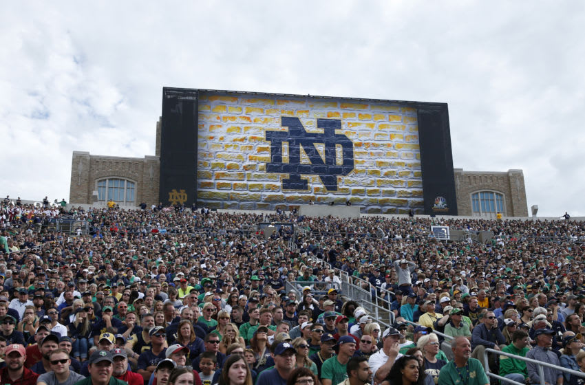 SOUTH BEND, IN - SEPTEMBER 02: General view of fans seated beneath a new stadium video scoreboard during a game between the Notre Dame Fighting Irish and Temple Owls at Notre Dame Stadium on September 2, 2017 in South Bend, Indiana. The Irish won 49-16. (Photo by Joe Robbins/Getty Images) *** Local Caption ***