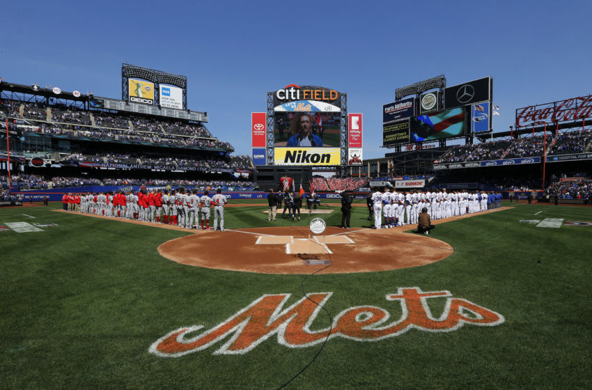 New York Mets logo at Citi Field (Photo by Jim McIsaac/Getty Images)