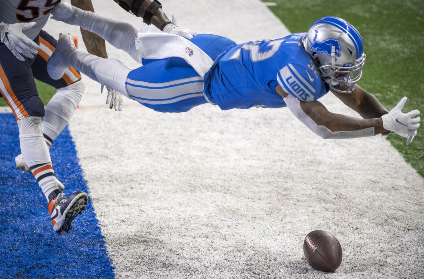 DETROIT, MI - SEPTEMBER 13: D'Andre Swift #32 of the Detroit Lions (Photo by Nic Antaya/Getty Images)
