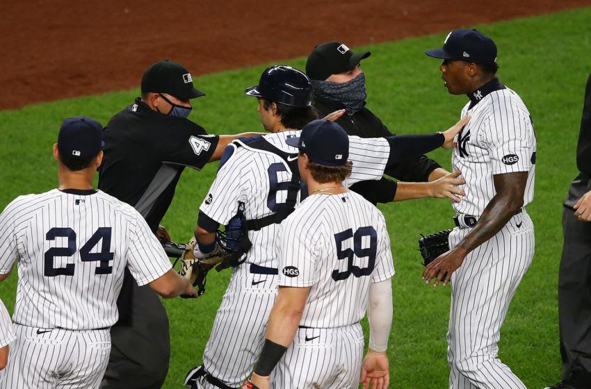 New York Yankees closer Aroldis Chapman (Photo by Mike Stobe/Getty Images)