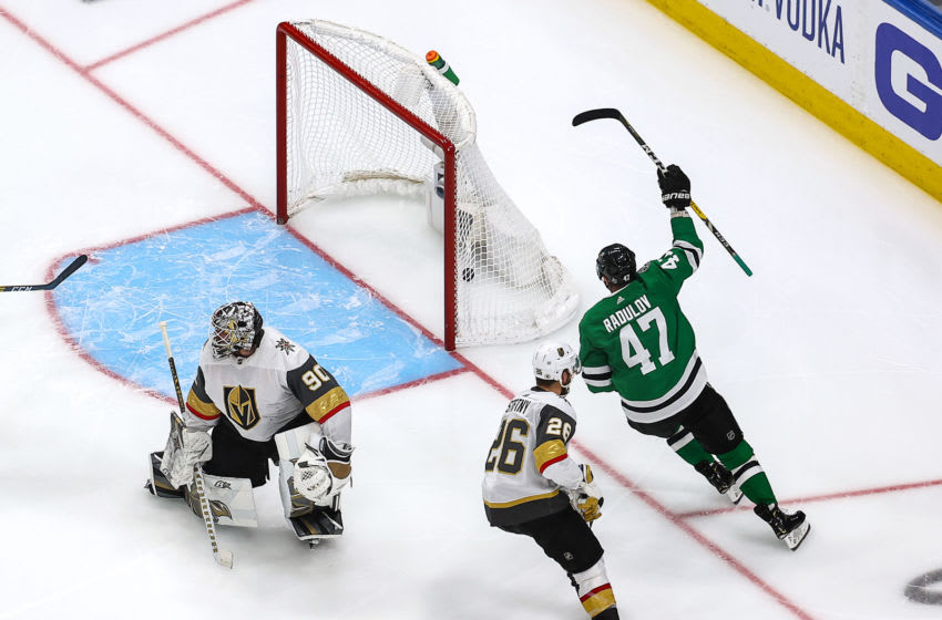 EDMONTON, ALBERTA - SEPTEMBER 10: Alexander Radulov #47 of the Dallas Stars scores the game-winning goal past Robin Lehner #90 of the Vegas Golden Knights during the first overtime period to give the Stars the 3-2 victory in Game Three of the Western Conference Final during the 2020 NHL Stanley Cup Playoffs at Rogers Place on September 10, 2020 in Edmonton, Alberta, Canada. (Photo by Bruce Bennett/Getty Images)