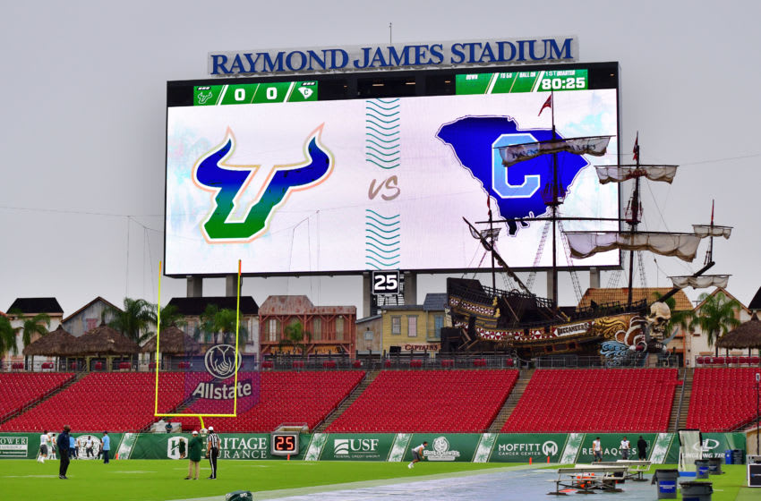 TAMPA, FLORIDA - SEPTEMBER 12: A general view at Raymond James Stadium before a game between the South Florida Bulls and the Citadel Bulldogs on September 12, 2020 in Tampa, Florida. (Photo by Julio Aguilar/Getty Images)