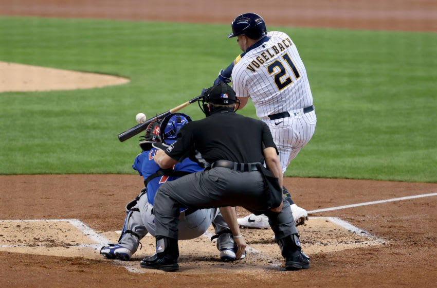 MILWAUKEE, WISCONSIN - SEPTEMBER 13: Daniel Vogelbach #21 of the Milwaukee Brewers strikes out in the second inning against the Chicago Cubs at Miller Park on September 13, 2020 in Milwaukee, Wisconsin. (Photo by Dylan Buell/Getty Images)