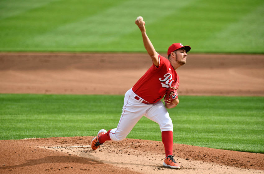 CINCINNATI, OH - SEPTEMBER 14: Trevor Bauer #27 of the Cincinnati Reds pitches against the Pittsburgh Pirates during game one of a doubleheader at Great American Ball Park on September 14, 2020 in Cincinnati, Ohio. (Photo by Jamie Sabau/Getty Images)