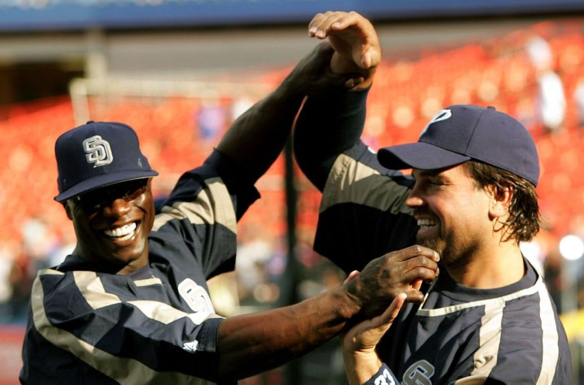 Mike Cameron, Mike Piazza, San Diego Padres. (Photo by Nick Laham/Getty Images)