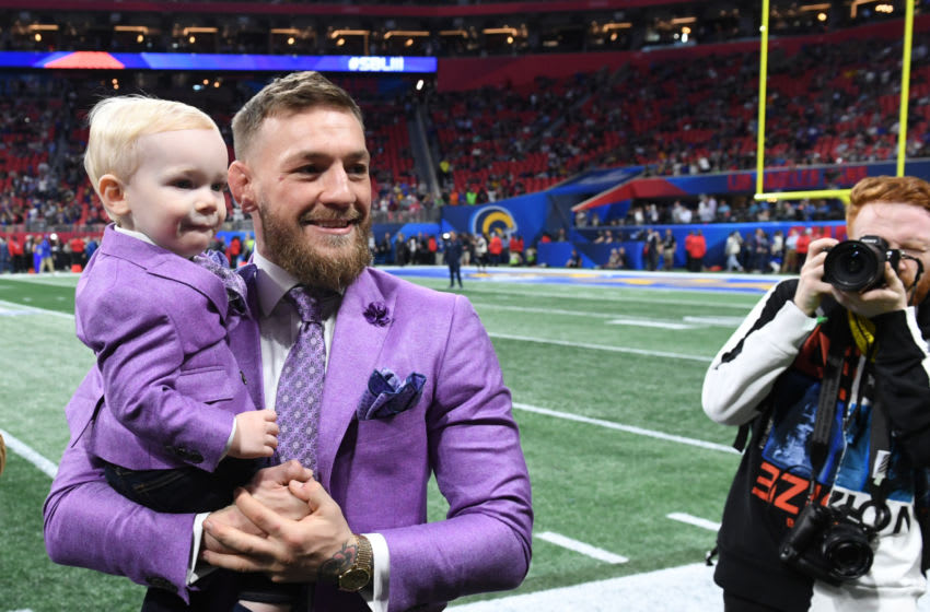 Conor McGregor, Irish mixed martial artist, awaits the start of Super Bowl LIII between the New England Patriots and the Los Angeles Rams at Mercedes-Benz Stadium in Atlanta, Georgia, on February 3, 2019. (Photo by TIMOTHY A. CLARY / AFP) (Photo credit should read TIMOTHY A. CLARY/AFP via Getty Images)