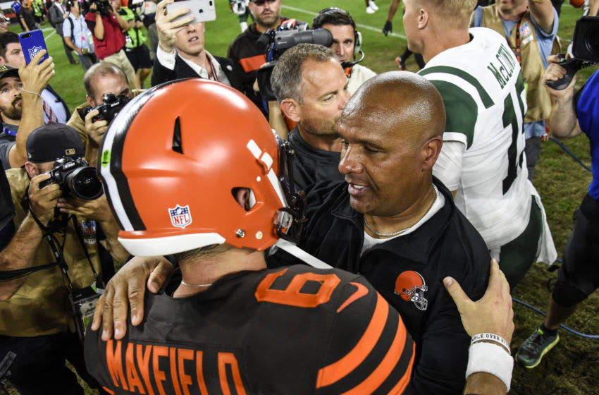 CLEVELAND, OH - SEPTEMBER 20: Head coach Hue Jackson of the Cleveland Browns celebrates with Baker Mayfield #6 after a 21-17 win over the New York Jets at FirstEnergy Stadium on September 20, 2018 in Cleveland, Ohio. (Photo by Jason Miller/Getty Images) Hue Jackson; Baker Mayfield