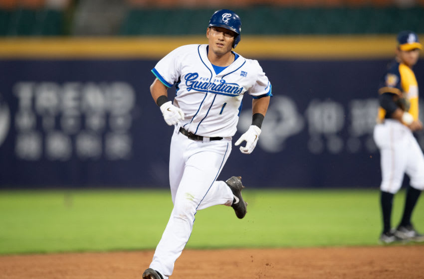 NEW TAIPEI CITY, TAIWAN - APRIL 25: Che Hsuan Lin #1 of Fubon Guardians. (Photo by Gene Wang/Getty Images)