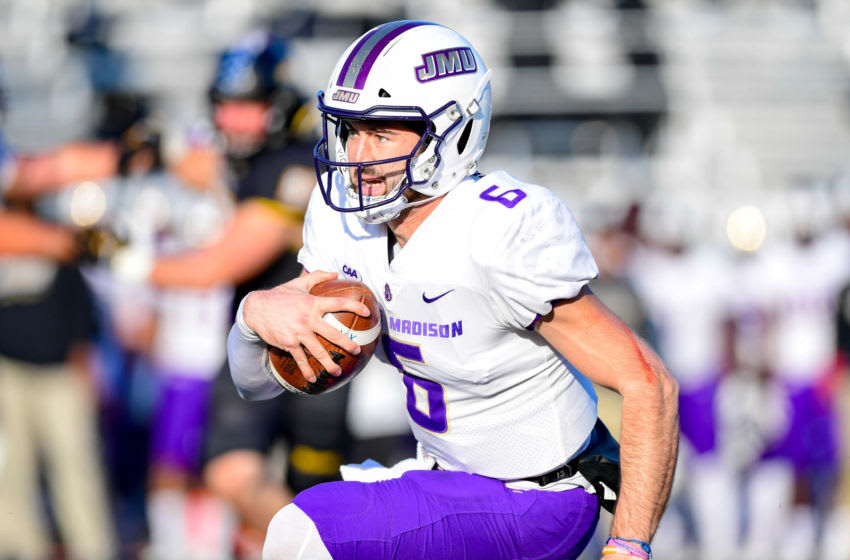 TOWSON, MD - NOVEMBER 17: Quarterback Ben DiNucci #6 of the James Madison Dukes (Photo by Phillip Peters/E and P Photography/Getty Images)