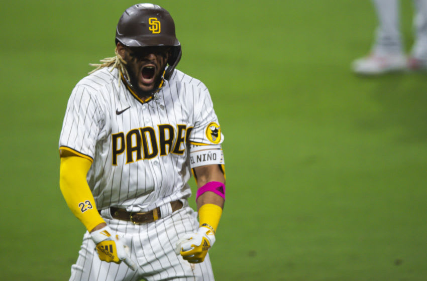 SAN DIEGO, CA - OCTOBER 01: Fernando Tatis Jr #23 of the San Diego Padres celebrates after hitting a home run in the bottom of the sixth inning against the St Louis Cardinals during Game Two of the National League Wildcard series at PETCO Park on October 1, 2020 in San Diego, California. (Photo by Matt Thomas/San Diego Padres/Getty Images)