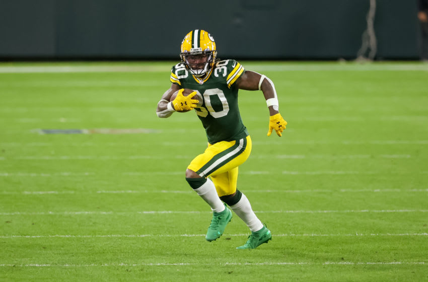 GREEN BAY, WISCONSIN - OCTOBER 05: Jamaal Williams #30 of the Green Bay Packers (Photo by Dylan Buell/Getty Images)
