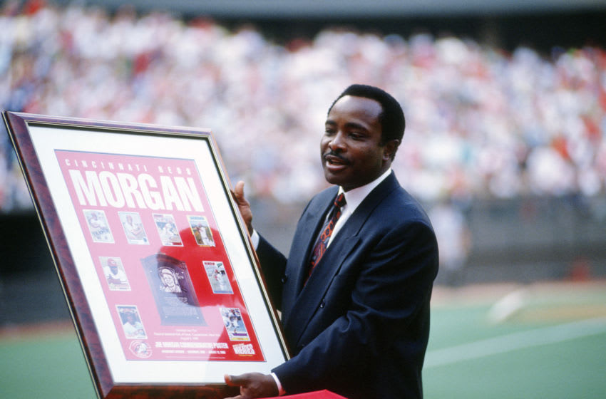 CINCINNATI, OH - CIRCA 1990: Former Cincinnati Reds second baseman Joe Morgan is honored by the team prior to a Major League Baseball game circa 1990 at Riverfront Stadium in Cincinnati, Ohio. Morgan played for the Reds from 1972-79. (Photo by Focus on Sport/Getty Images)