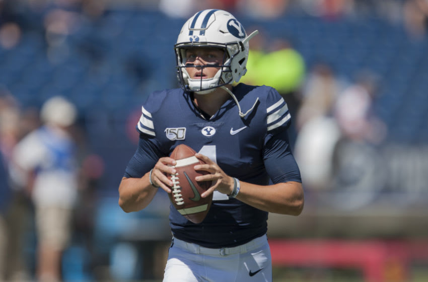 PROVO, UT - SEPTEMBER 14 : Zach Wilson #1 of the BYU Cougars warms up before their game against the USC Trojans at LaVell Edwards Stadium on September 14, in Provo, Utah. (Photo by Chris Gardner/Getty Images)