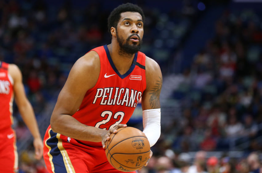 NEW ORLEANS, LOUISIANA - JANUARY 18: Derrick Favors #22 of the New Orleans Pelicans (Photo by Jonathan Bachman/Getty Images)