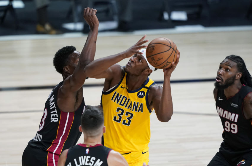 LAKE BUENA VISTA, FLORIDA - AUGUST 18: Myles Turner #33 of the Indiana Pacers (Photo by Ashley Landis-Pool/Getty Images)