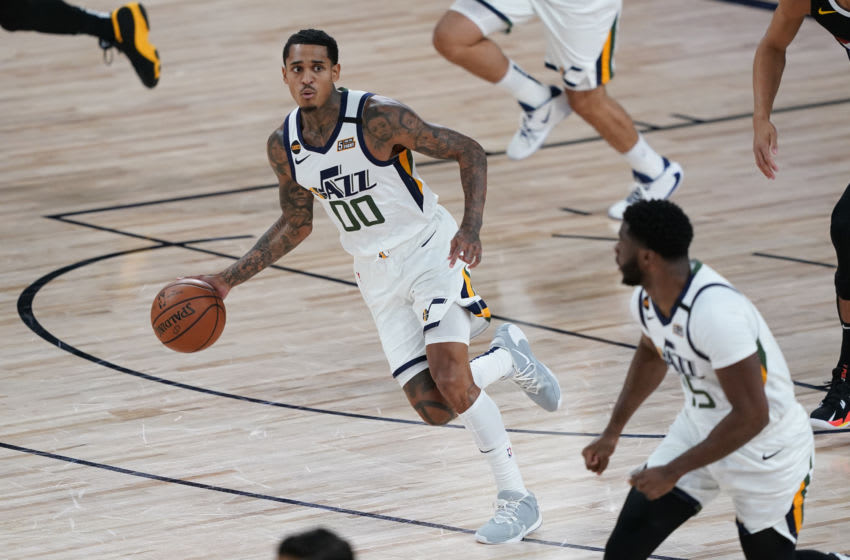 LAKE BUENA VISTA, FLORIDA - AUGUST 19: Jordan Clarkson #00 of the Utah Jazz (Photo by Ashley Landis-Pool/Getty Images)