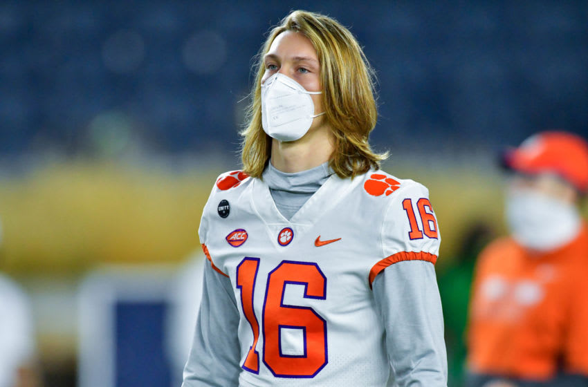 SOUTH BEND, INDIANA - NOVEMBER 07: Quarterback Trevor Lawrence #16 of the Clemson Tigers (Photo by Matt Cashore-Pool/Getty Images)