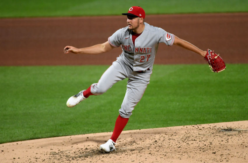 PITTSBURGH, PA - SEPTEMBER 04: Trevor Bauer #27 of the Cincinnati Reds in action during game two of a doubleheader against the Pittsburgh Pirates at PNC Park on September 4, 2020 in Pittsburgh, Pennsylvania. (Photo by Justin Berl/Getty Images)