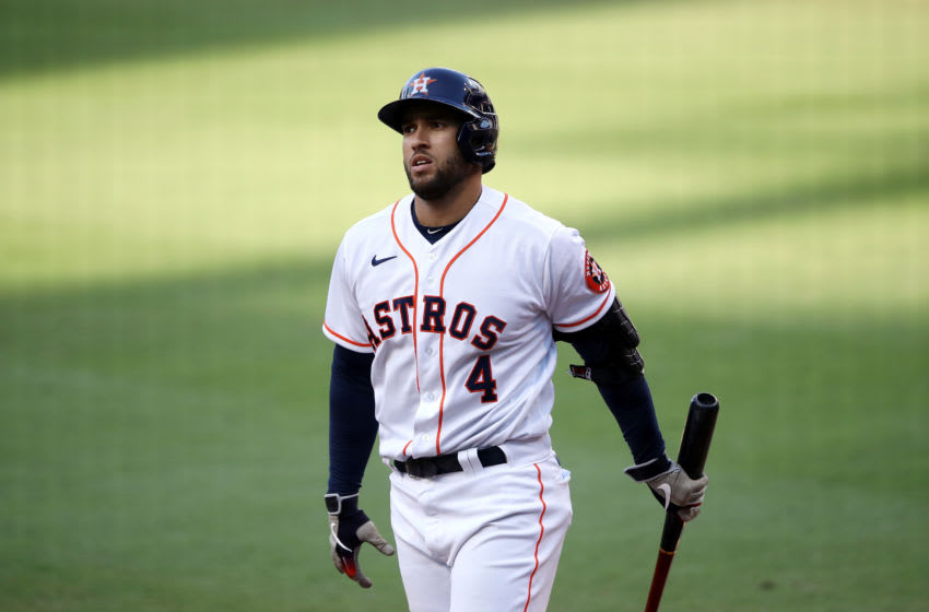 SAN DIEGO, CALIFORNIA - OCTOBER 15: George Springer #4 of the Houston Astros reacts to striking out against the Tampa Bay Rays during the fifth inning in Game Five of the American League Championship Series at PETCO Park on October 15, 2020 in San Diego, California. (Photo by Sean M. Haffey/Getty Images)
