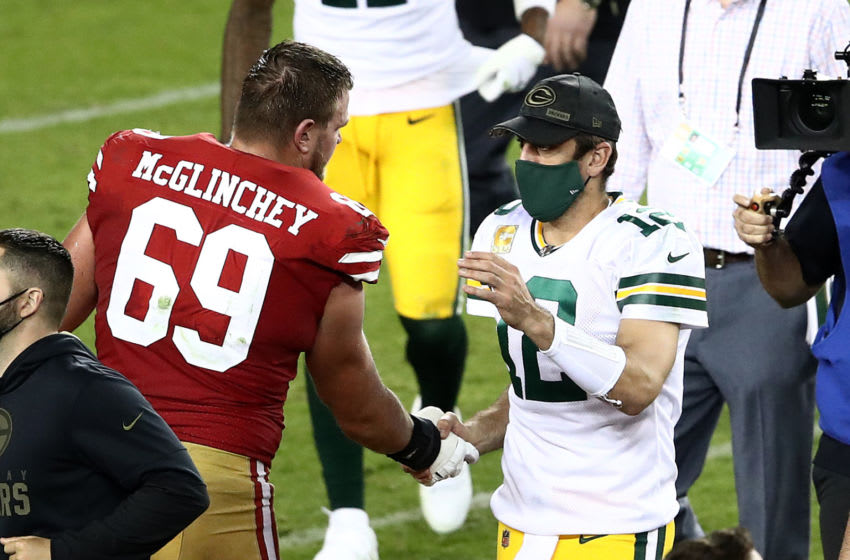 SANTA CLARA, CALIFORNIA - NOVEMBER 05: Aaron Rodgers #12 of the Green Bay Packers shakes hands with Mike McGlinchey #69 of the San Francisco 49ers following a game at Levi's Stadium on November 05, 2020 in Santa Clara, California. The Packers beat the 49ers 34-17. (Photo by Ezra Shaw/Getty Images)