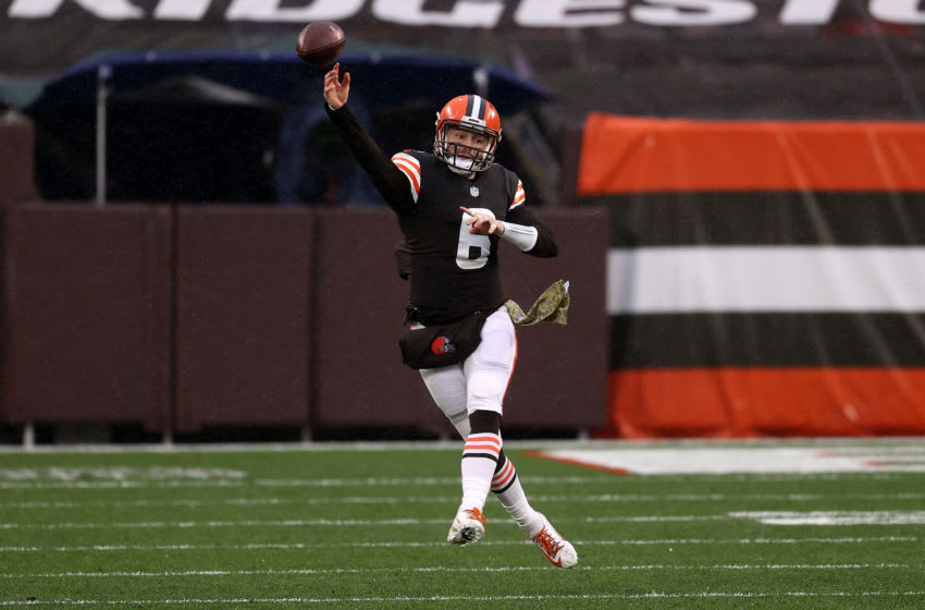 CLEVELAND, OHIO - NOVEMBER 22: Baker Mayfield #6 of the Cleveland Browns (Photo by Gregory Shamus/Getty Images)
