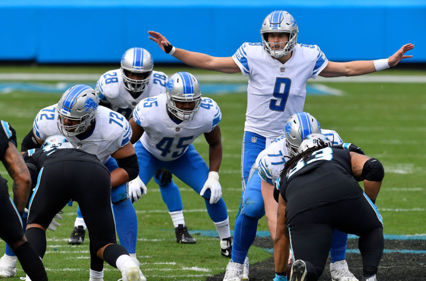 CHARLOTTE, NORTH CAROLINA - NOVEMBER 22: Matthew Stafford #9 of the Detroit Lions runs the offense during the first half against the Carolina Panthers at Bank of America Stadium on November 22, 2020 in Charlotte, North Carolina. (Photo by Grant Halverson/Getty Images)
