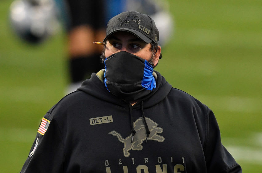 CHARLOTTE, NORTH CAROLINA - NOVEMBER 22: Head coach Matt Patricia of the Detroit Lions reacts after their 20-0 loss to the Carolina Panthers at Bank of America Stadium on November 22, 2020 in Charlotte, North Carolina. (Photo by Grant Halverson/Getty Images)