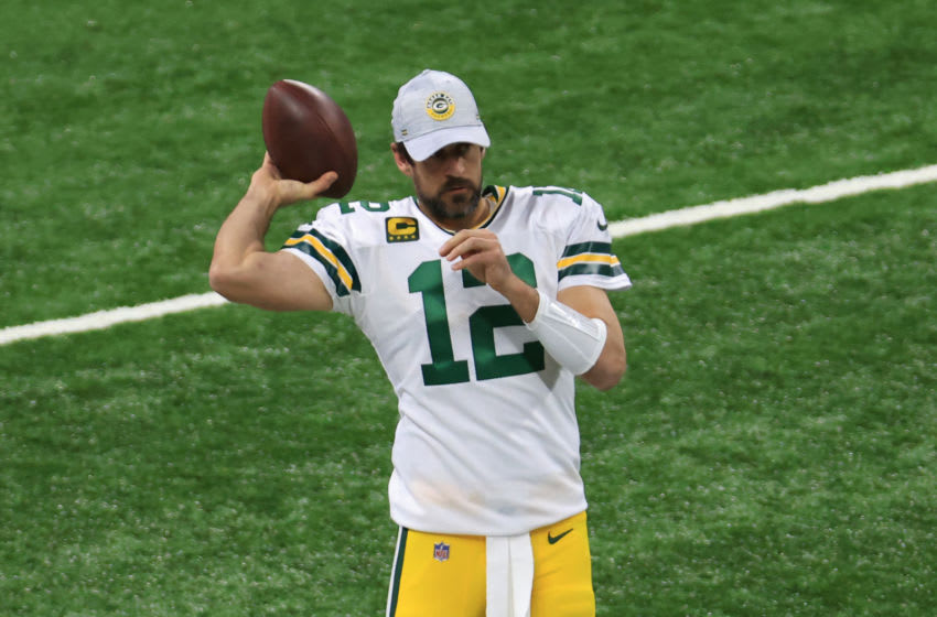 INDIANAPOLIS, INDIANA - NOVEMBER 22: Aaron Rodgers #12 of the Green Bay Packers warms up before the game against the Indianapolis Colts at Lucas Oil Stadium on November 22, 2020 in Indianapolis, Indiana. (Photo by Justin Casterline/Getty Images)