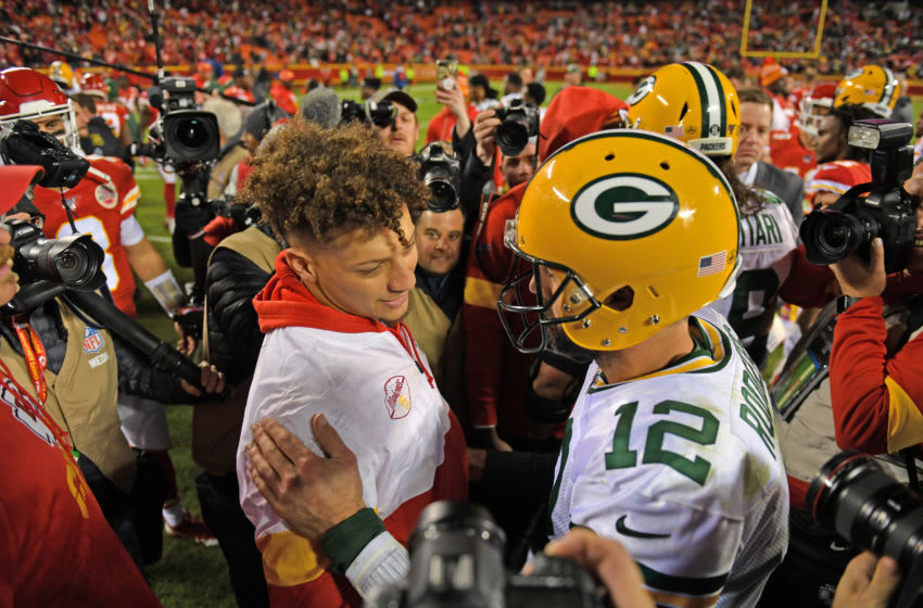Green Bay Packers QB Aaron Rodgers and Kansas City Chiefs QB Patrick Mahomes (Photo by Peter Aiken/Getty Images)