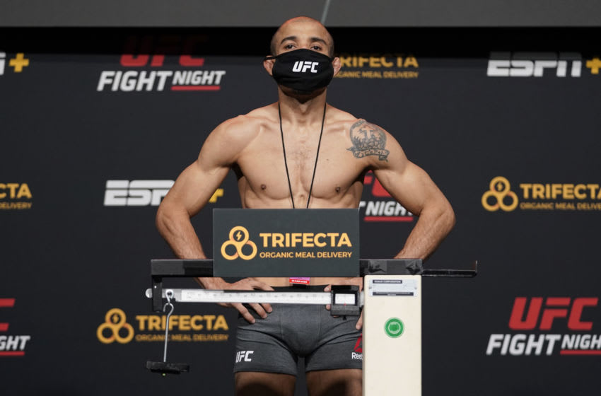 LAS VEGAS, NEVADA - DECEMBER 18: In this handout image provided by UFC, Jose Aldo of Brazil poses on the scale during the UFC Fight Night weigh-in at UFC APEX on December 18, 2020 in Las Vegas, Nevada. (Photo by Cooper Neill/Zuffa LLC via Getty Images)